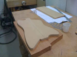 MDF template on the mahogany