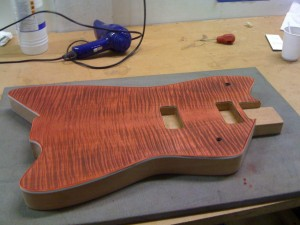 Stage 3: red stain applied