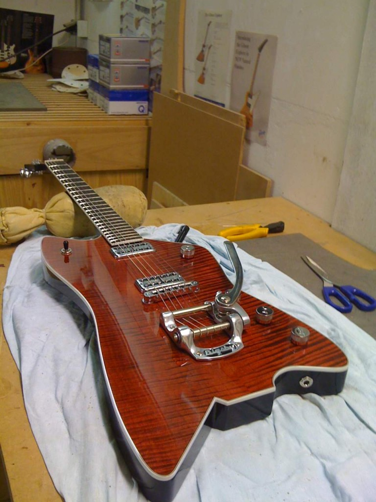 Completed guitar! Isn't she a beauty?
