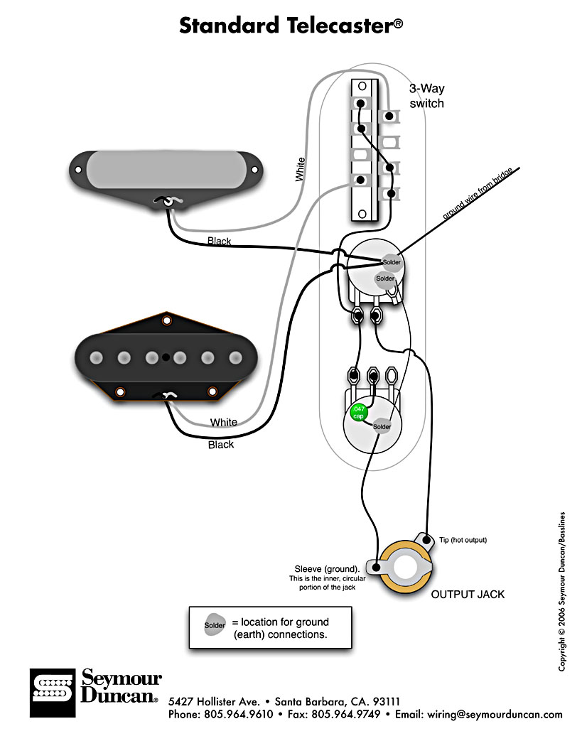 Wiring For Tele Pickups And Les Paul Style Three Way Switch